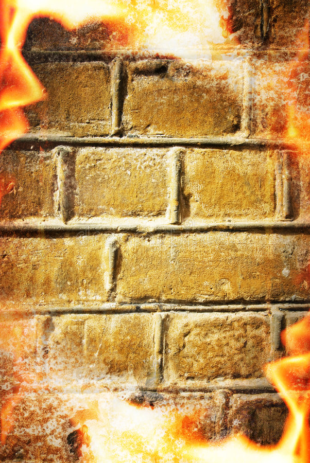 Abstract fire frame. Over brick wall stock images