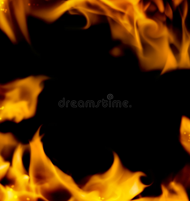 Abstract fire frame. Isolated on black background royalty free stock photo