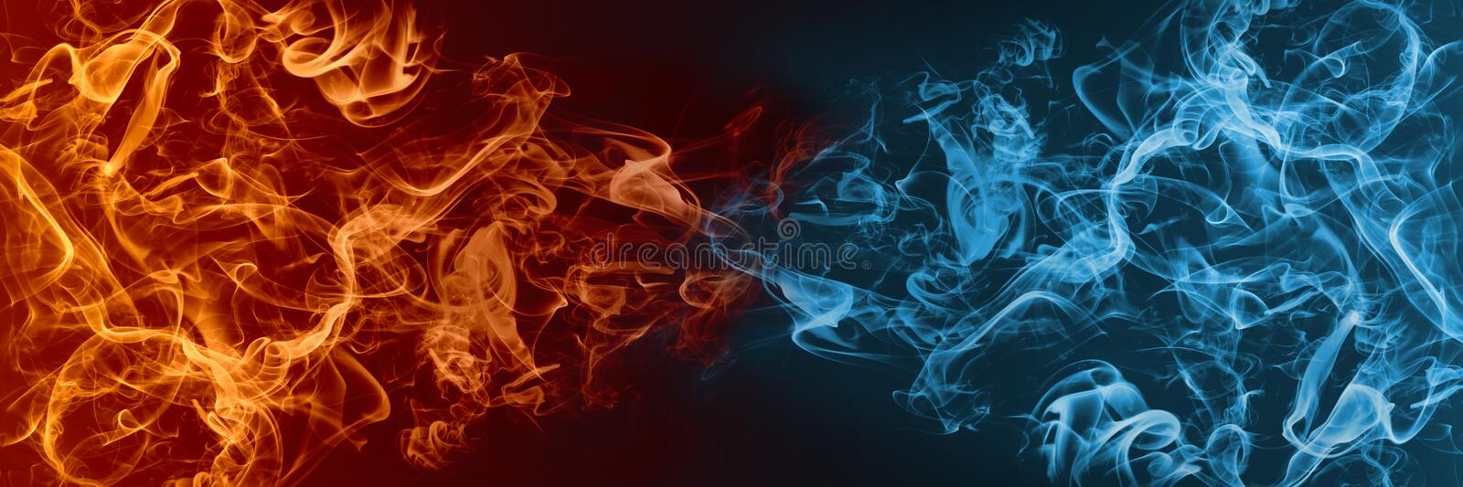 Abstract Fire and Ice element against vs each other background. Heat and Cold concept vector illustration