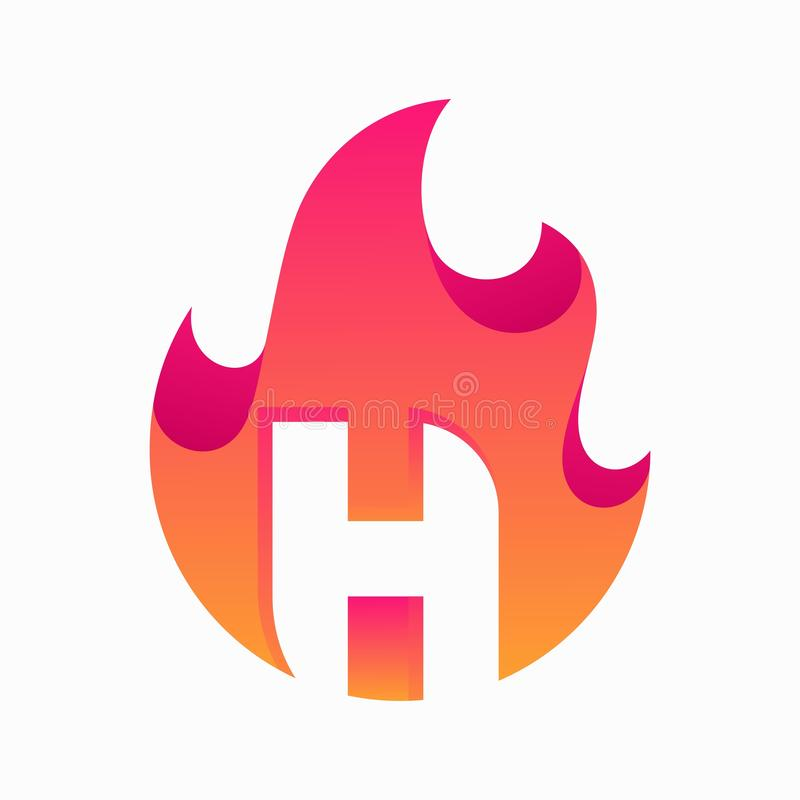 Abstract Fire Letter H Design Vector Template. Suitable for Creative Industry, Multimedia, entertainment, Educations, Shop, and any related business vector illustration