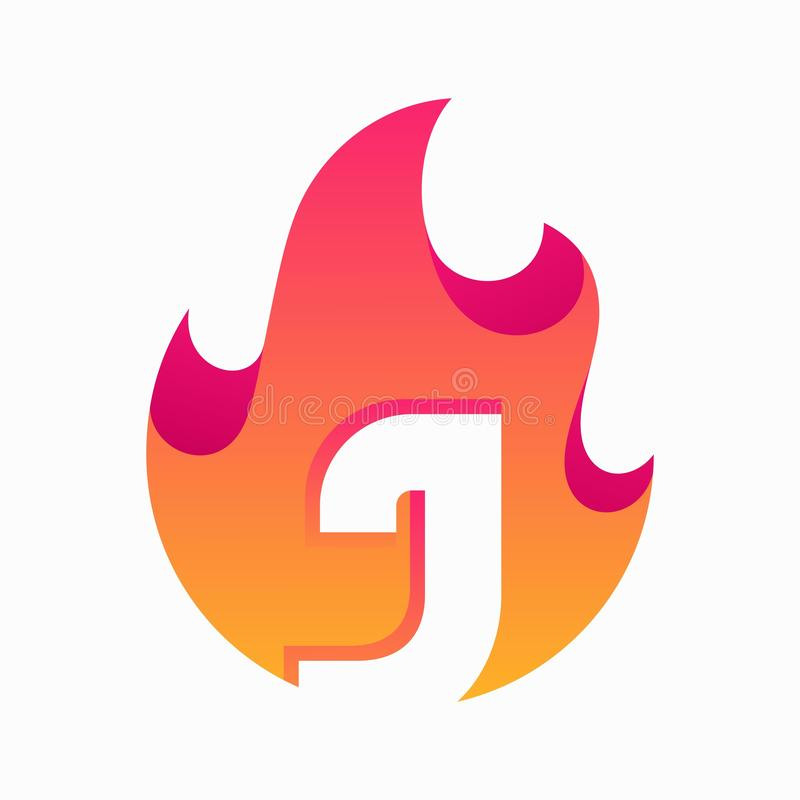 Abstract Fire Letter J Design Vector Template. Suitable for Creative Industry, Multimedia, entertainment, Educations, Shop, and any related business stock illustration