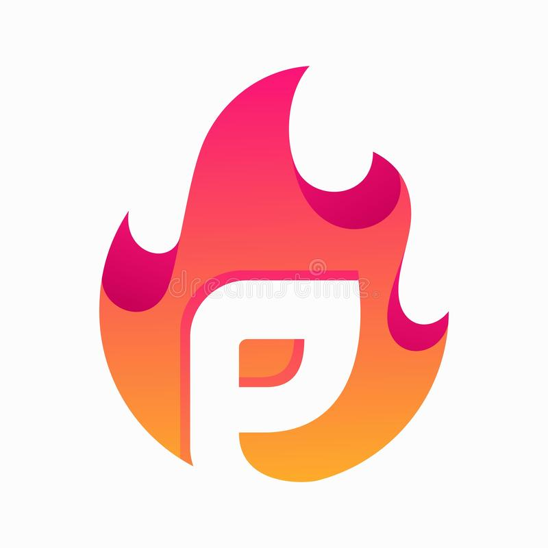 Abstract Fire Letter P Design Vector Template. Suitable for Creative Industry, Multimedia, entertainment, Educations, Shop, and any related business royalty free illustration