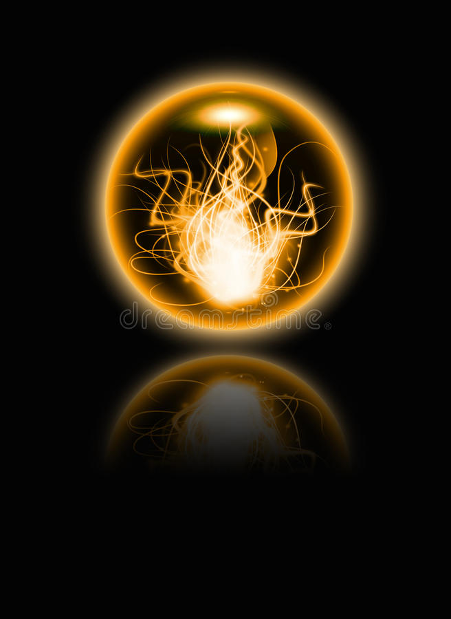 Abstract fire sphere. With reflection on the black background stock illustration