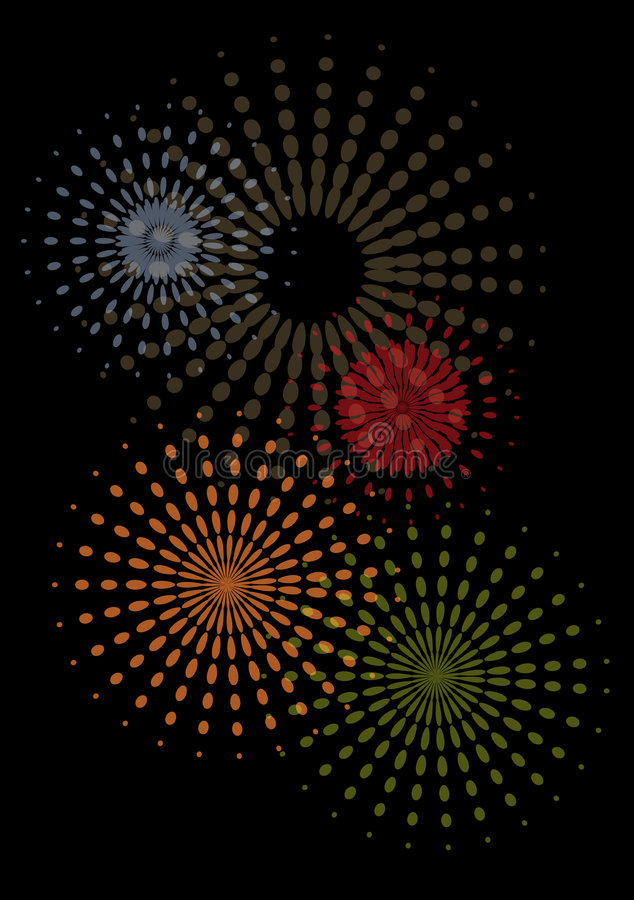 Abstract fireworks. Abstact colorful fireworks with a black background royalty free illustration