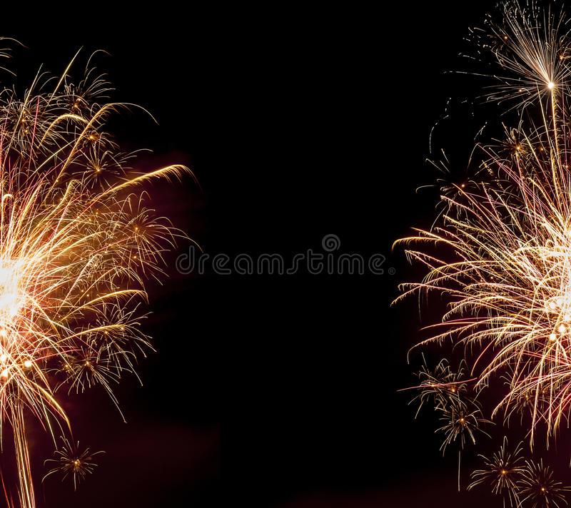 Abstract fireworks background effect. With blank room stock photography