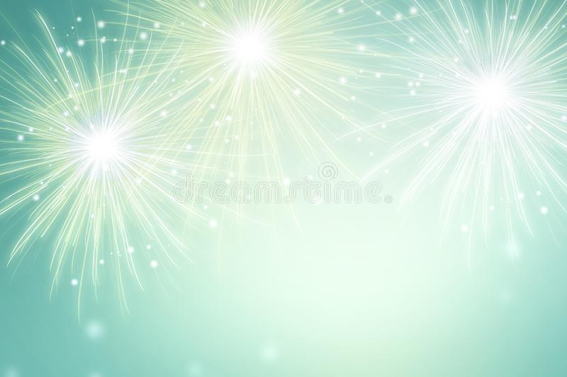 Abstract fireworks on green background. Celebration festival wallpaper. royalty free illustration