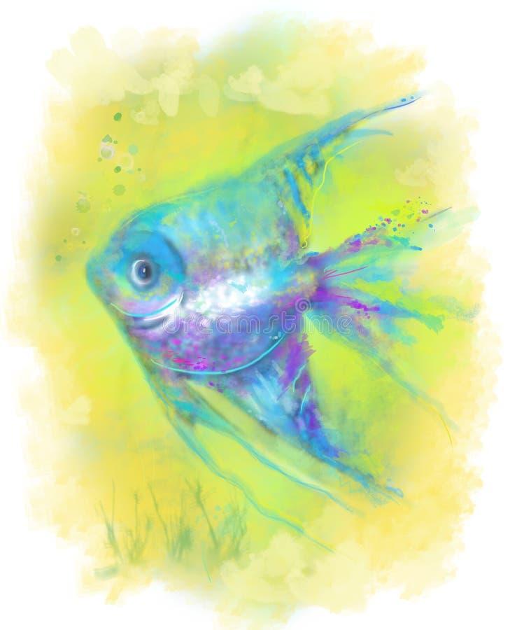 Abstract fish aquarium. Illustration. Beautiful fantasy fish Abstract Illustration