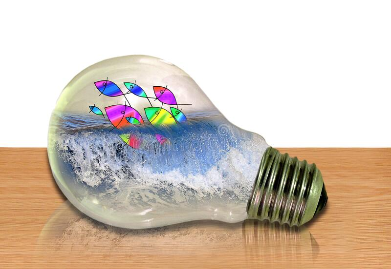 Abstract fish aquarium school shoal water ocean light bulb energy power waves domestic home electric green eco ecology sea sealife. Abstract photo concept design stock photo