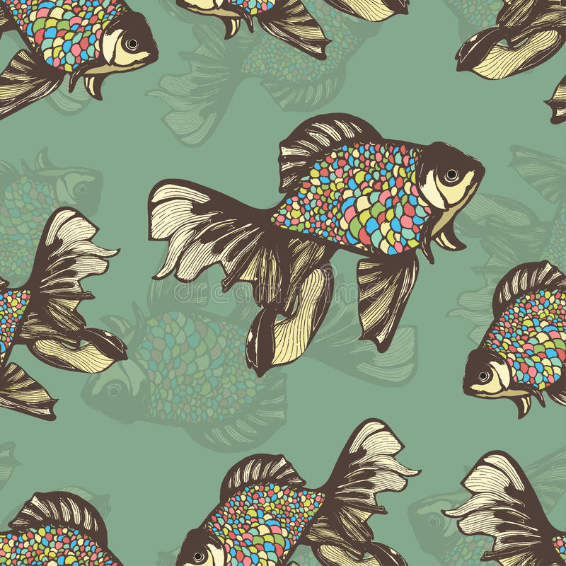 Abstract fish hand drawing seamless pattern, vector background. Decorative with motley multicolored scales on a green vector illustration