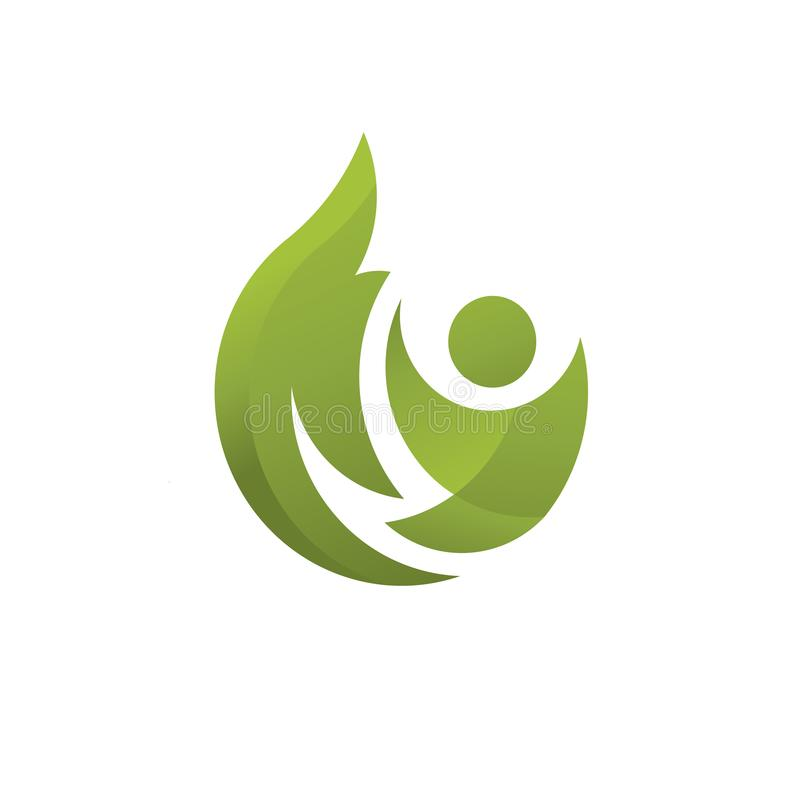 Abstract fitness health with green leaf. Creative abstract fitness health with green leaf concept logo stock illustration