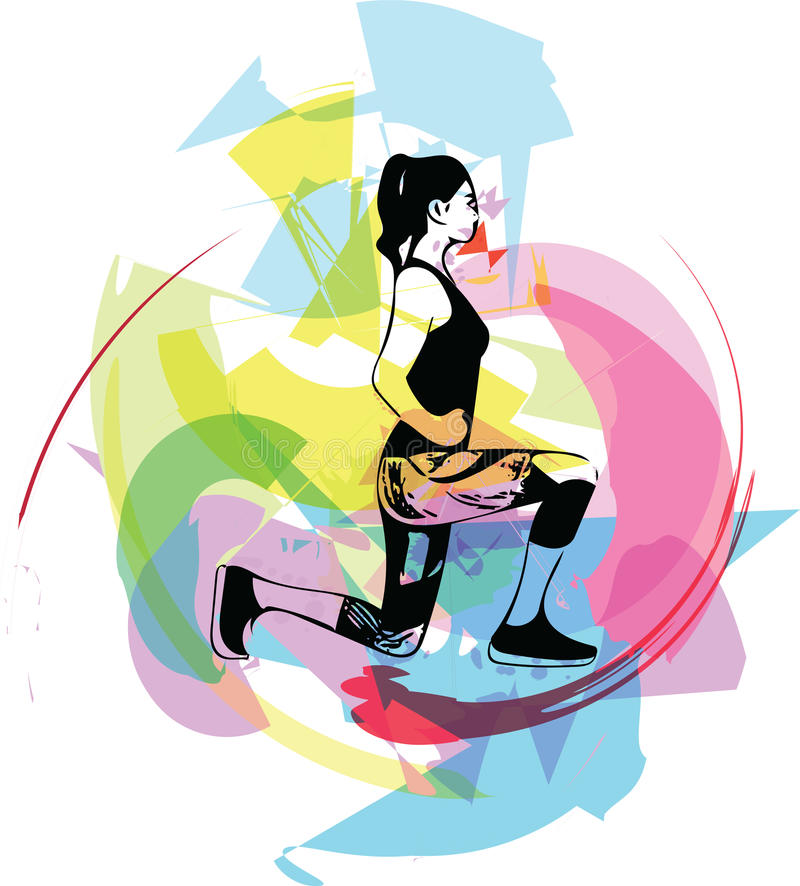 Abstract fitness woman, trained female body royalty free illustration