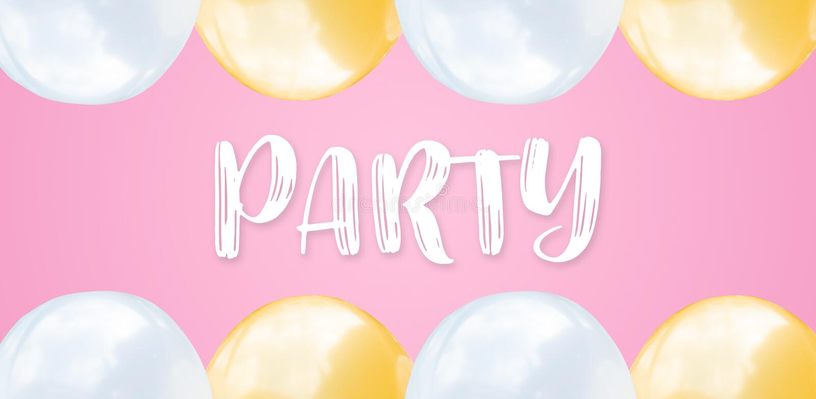 Abstract flat lay pink and white balloons on pastel pink wide background with text concept for Happy birthday party, empty space royalty free stock photo