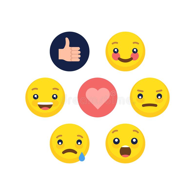 Abstract flat style design emotion emoji collection stock images