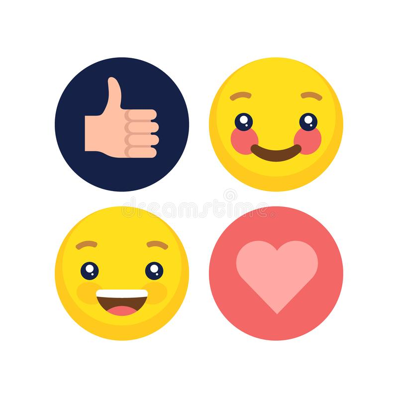 Abstract flat style design emotion emoji collection royalty free stock photos