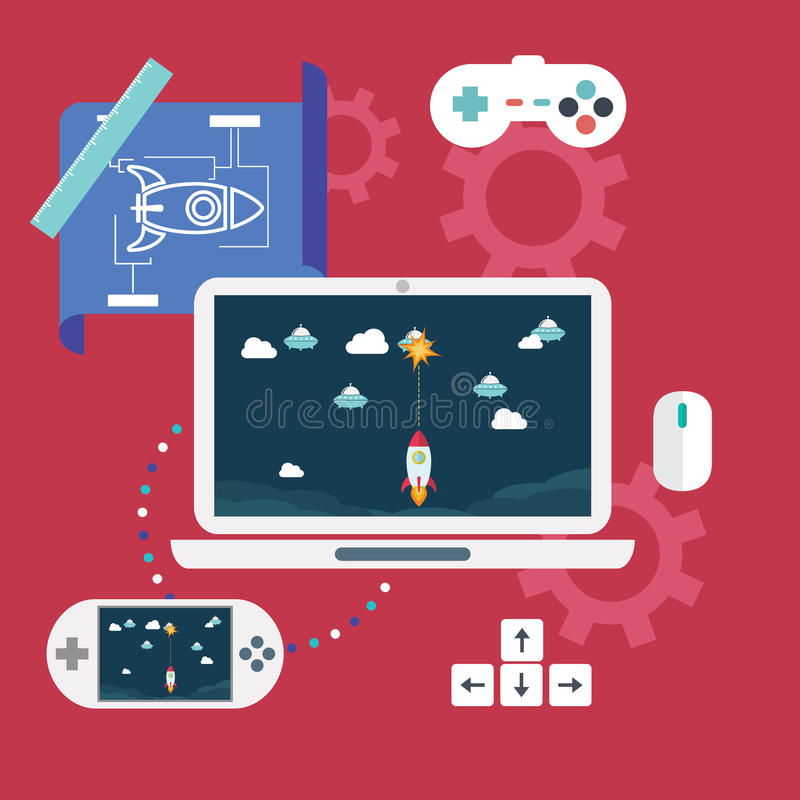 Abstract flat vector illustration of game development concepts. Design elements for mobile and web applications. stock illustration