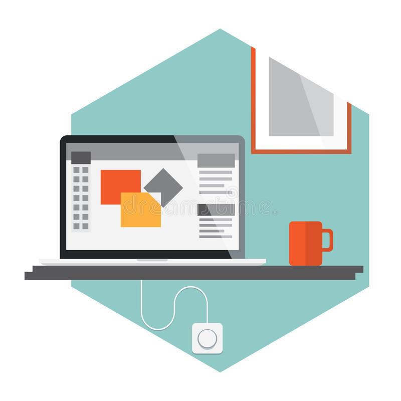 Abstract flat vector illustration of office royalty free illustration