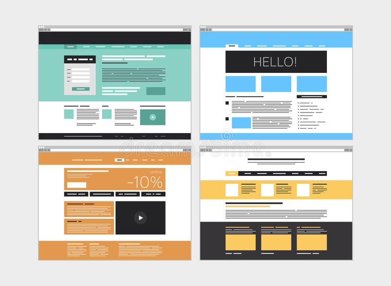 Abstract flat website set royalty free illustration