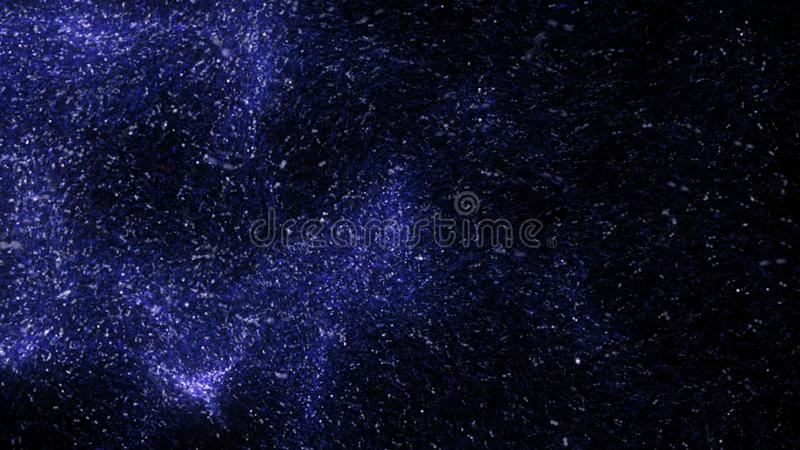 Abstract flight of purple particles on dark background. Animation. Amazing space dust, bright moving comet and its vector illustration