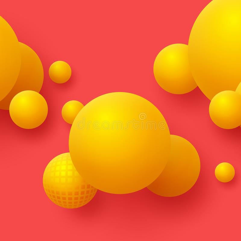 Abstract floating spheres background. 3d yellow balls on the red background. stock illustration
