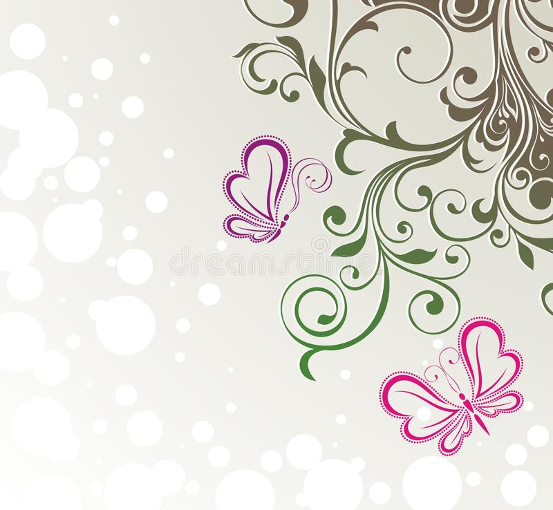 Download Abstract Flora Background With Butterflies Stock Vector - Illustration of detail, sketch: 25881603