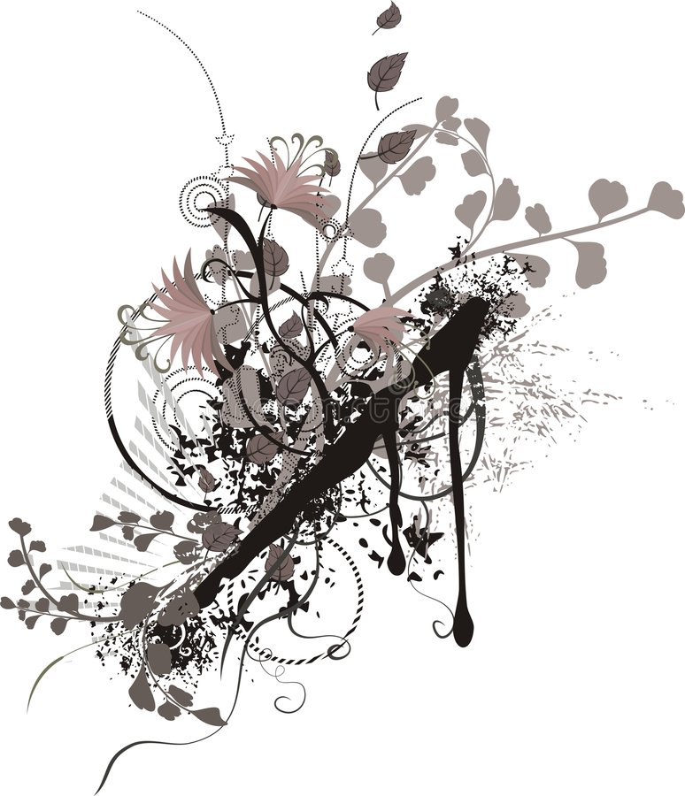 Abstract floral background. Abstract floral grunge background, illustration series stock illustration
