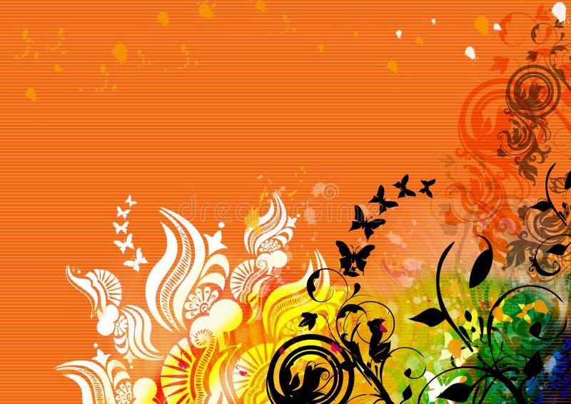 Natural motif design on orange background stock illustration