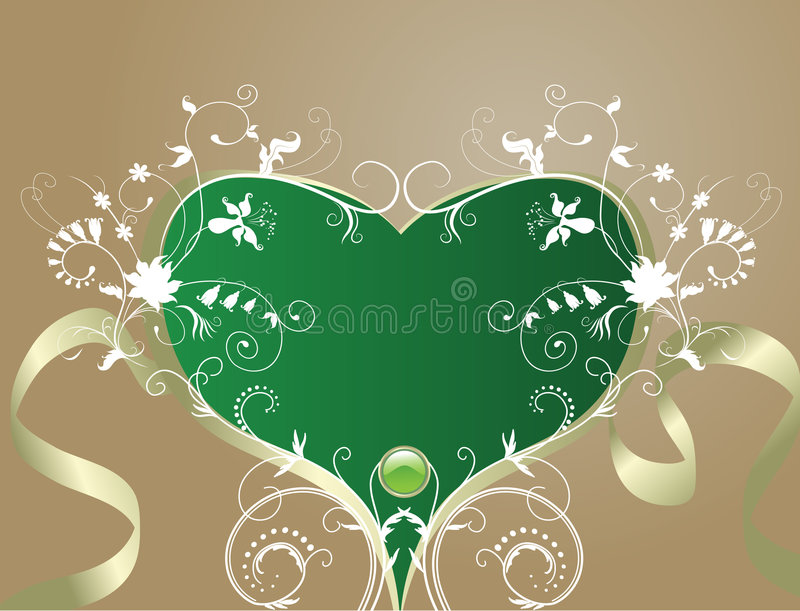 Abstract floral background. Artistic heart-shape vector illustration