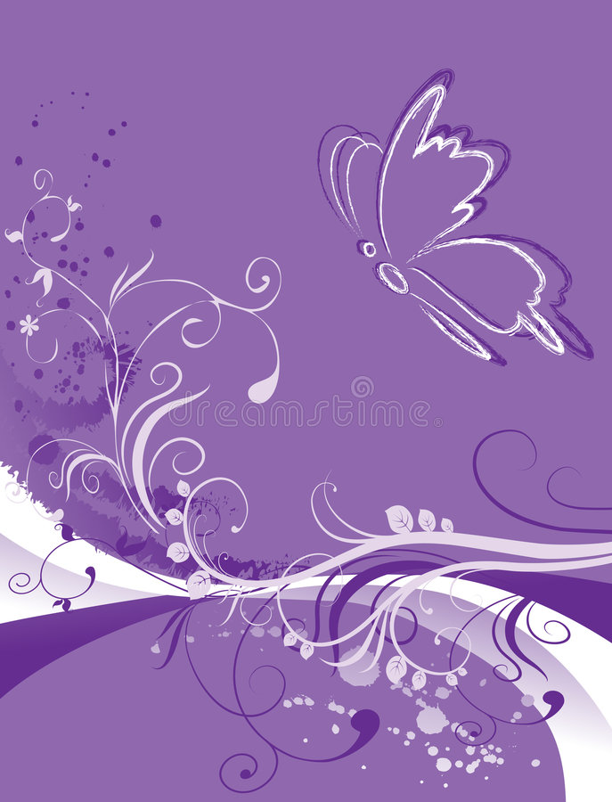 Abstract floral background with butterfly royalty free illustration