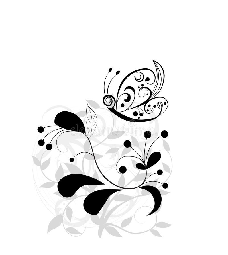 Abstract floral background an butterfly illustration. Abstract floral background an butterfly royalty free illustration