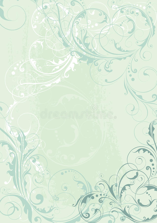 Abstract floral background design in light teal royalty free illustration