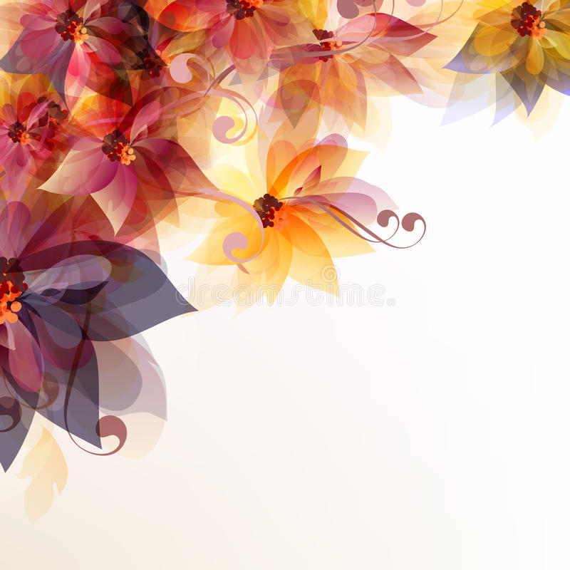 Abstract floral background with flowers and space for text royalty free illustration