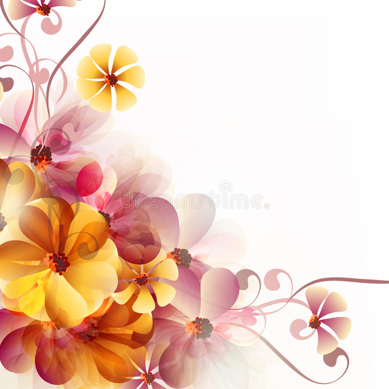 Abstract floral background with flowers and space for text vector illustration