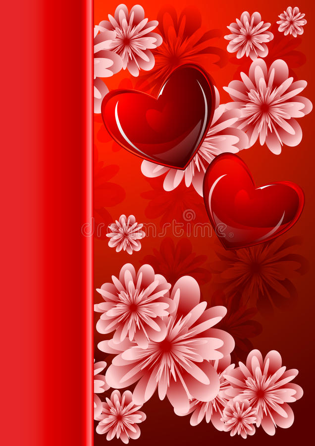 Abstract floral background with glossy red hearts vector illustration