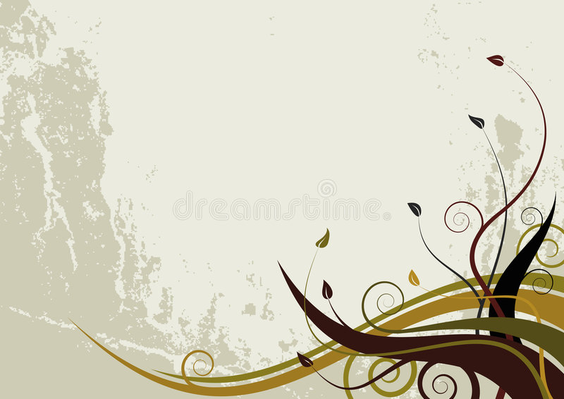 Abstract floral background - grunge style waves stock illustration