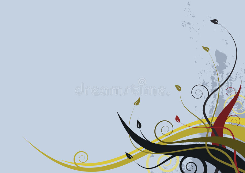 Abstract floral background - grunge style waves. Abstract floral background - grunge style with waves stock illustration