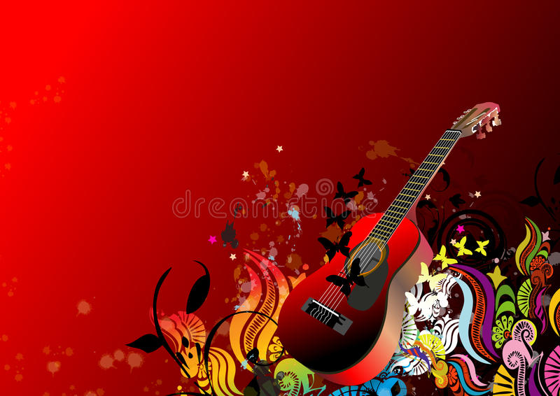 Abstract floral background and guitar vector illustration