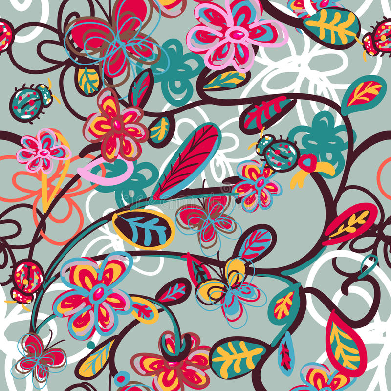 Abstract floral background with ladybird vector illustration
