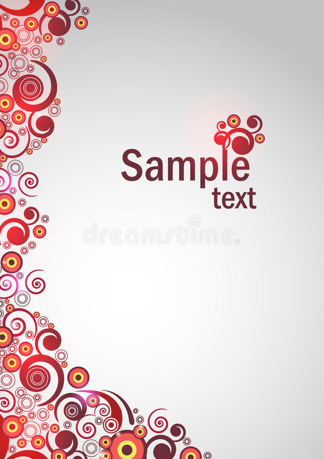 Abstract floral background with red lights stock illustration