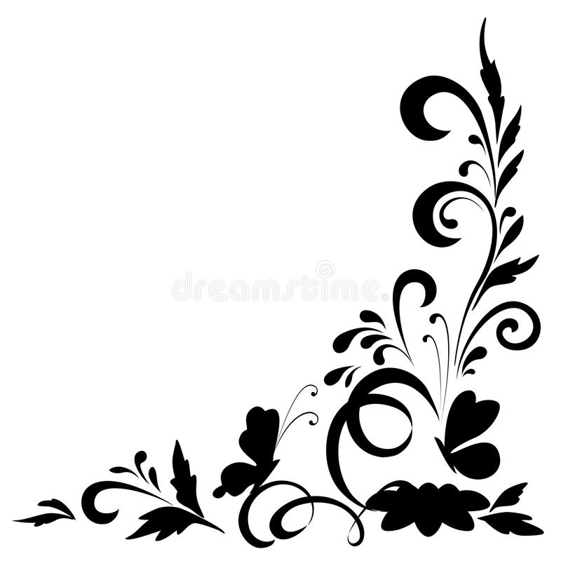 Black Flower Silhouette Pattern Royalty Free Stock Images: Abstract Floral Background, Silhouettes Stock Vector
