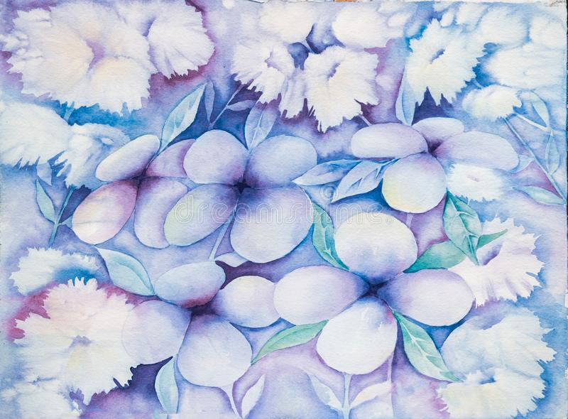 Abstract Floral Background or Wallpaper - Watercolor royalty free illustration
