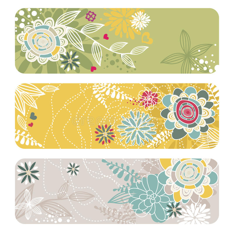 Abstract floral banners royalty free illustration