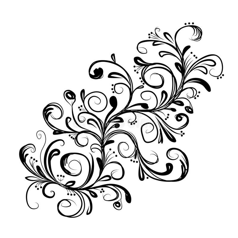 Download Abstract Floral Branch, Sketch For Your Design Stock Vector - Image: 30353438