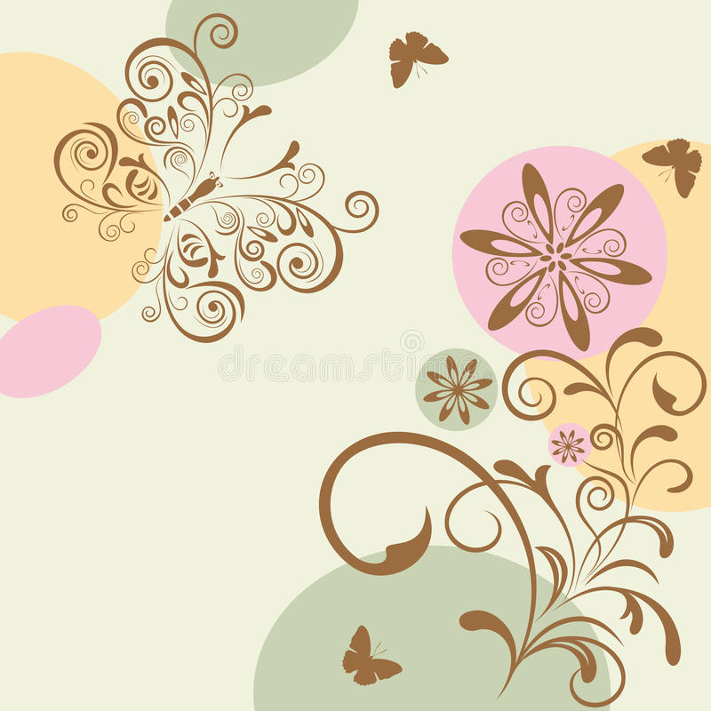 Abstract floral and butterfly vector illustration