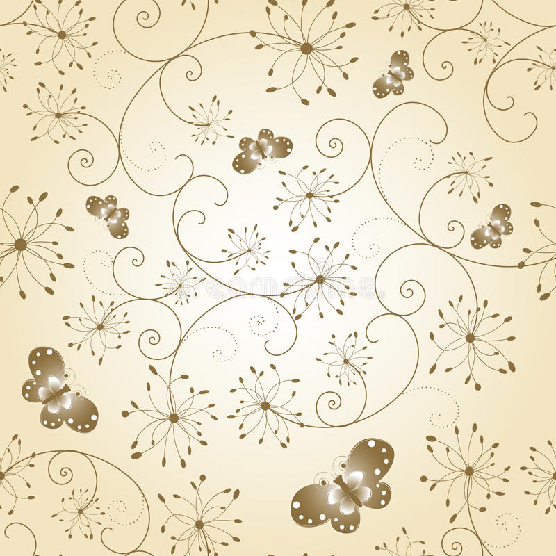Download Abstract Floral Butterfly Seamless Pattern Stock Vector - Image: 14738746