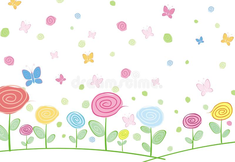 Abstract floral card with butterfly