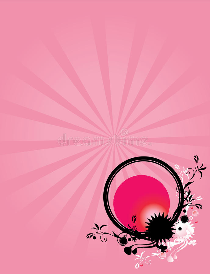 Abstract floral circle pink background 1 vector illustration