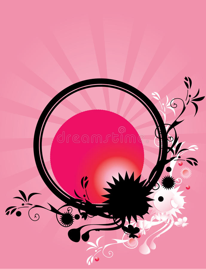 Abstract floral circle pink background 2 royalty free illustration