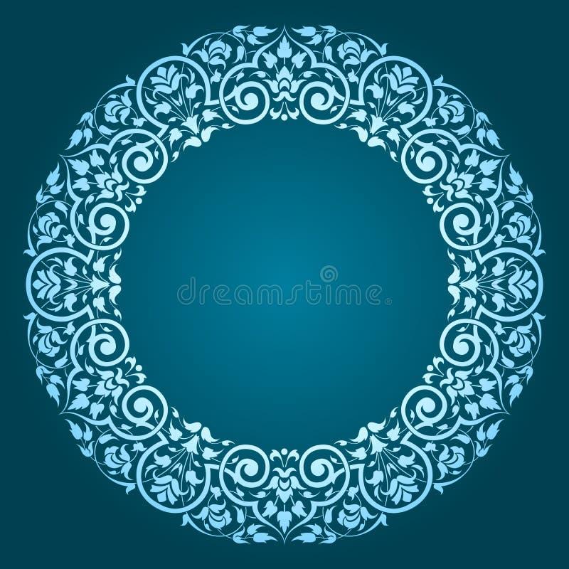 Abstract floral circular frame design royalty free illustration