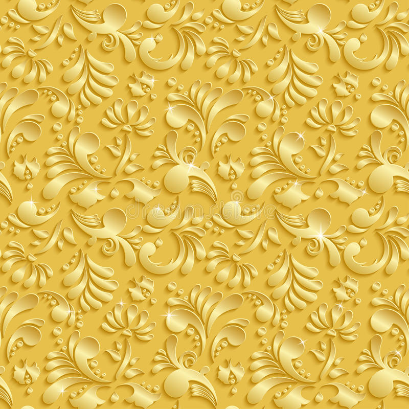 Abstract Floral 3d Seamless Pattern. Abstract Floral 3d Golden Background, Vector Seamless Pattern. Trendy Design Template for Christmas and Invitation Cards