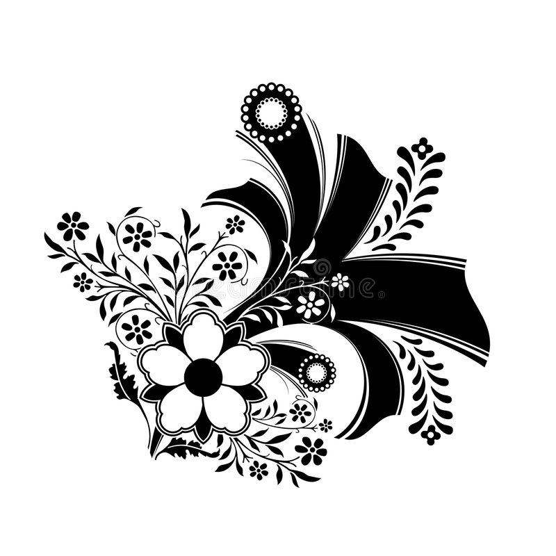 abstract floral decoration artwork in black color, vector illustration stock illustration